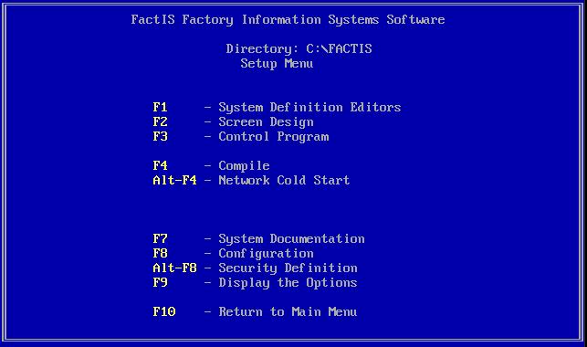 Factis DOS menu